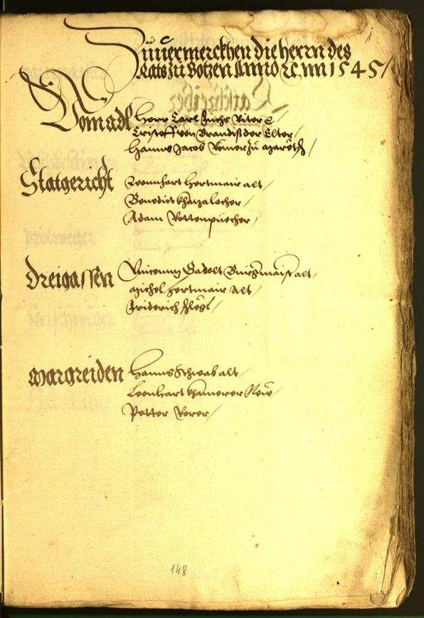 Civic Archives of Bozen-Bolzano - BOhisto Minutes of the council 1545