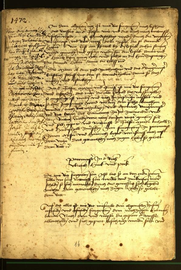 Stadtarchiv Bozen - BOhisto Ratsprotokoll 1472 fol. 1r