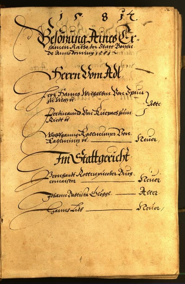 Stadtarchiv Bozen - BOhisto Ratsprotokoll 1581