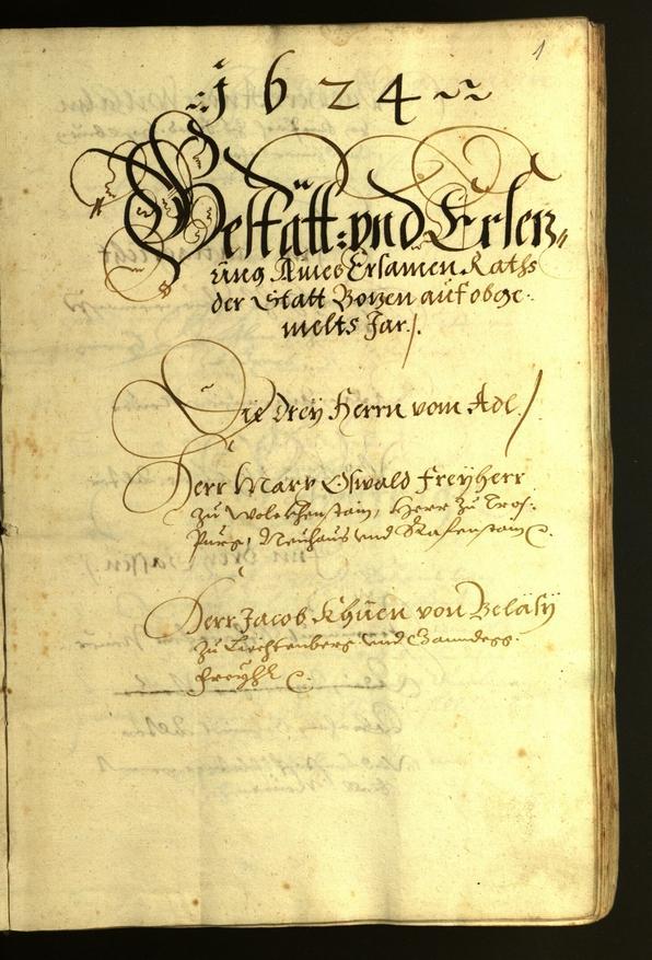 Stadtarchiv Bozen - BOhisto Ratsprotokoll 1624