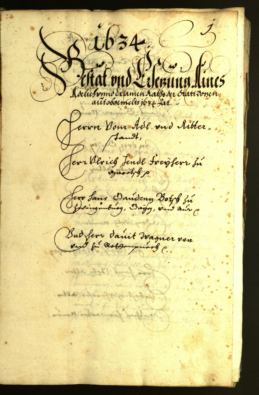 Stadtarchiv Bozen - BOhisto Ratsprotokoll 1634