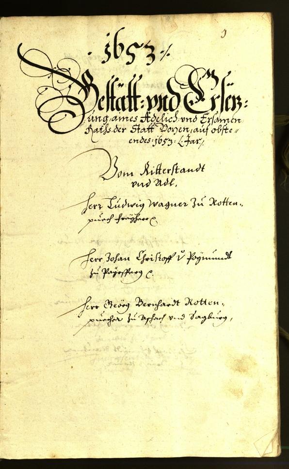 Stadtarchiv Bozen - BOhisto Ratsprotokoll 1653