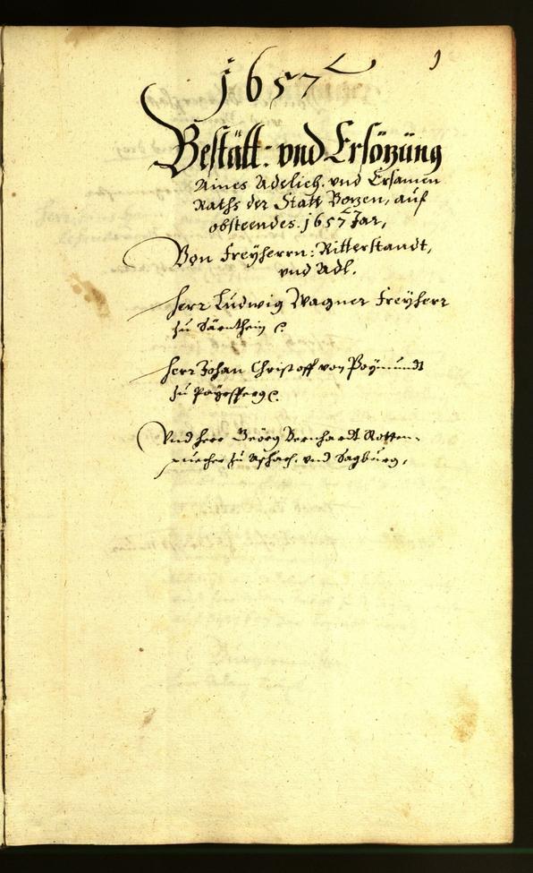 Stadtarchiv Bozen - BOhisto Ratsprotokoll 1657