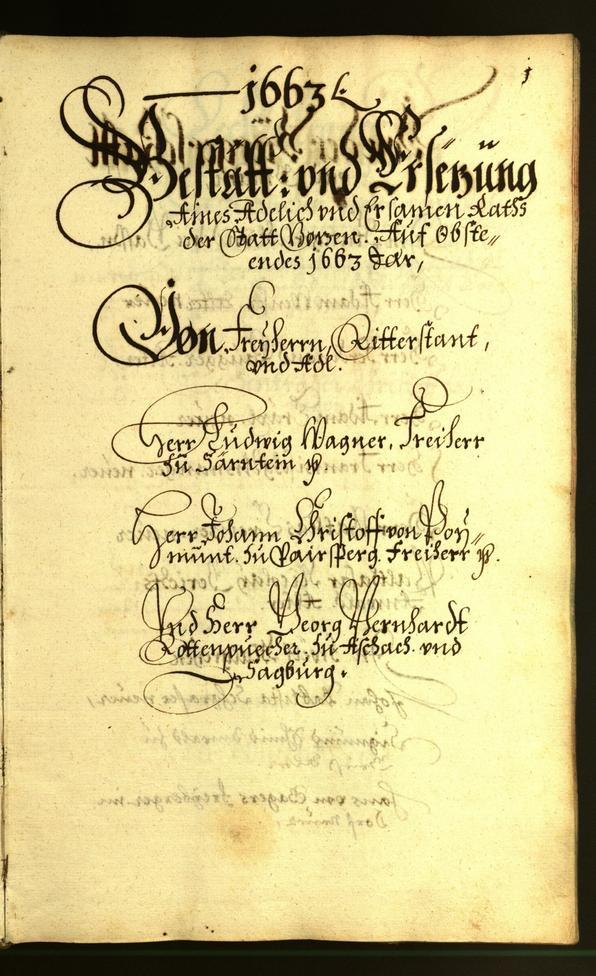 Stadtarchiv Bozen - BOhisto Ratsprotokoll 1663