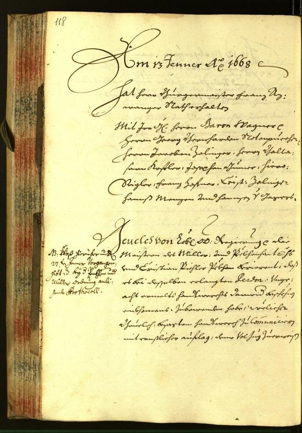 Stadtarchiv Bozen - BOhisto Ratsprotokoll 1668