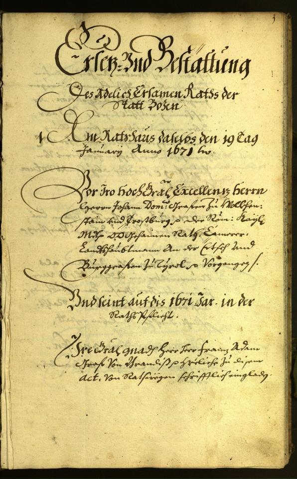 Stadtarchiv Bozen - BOhisto Ratsprotokoll 1671