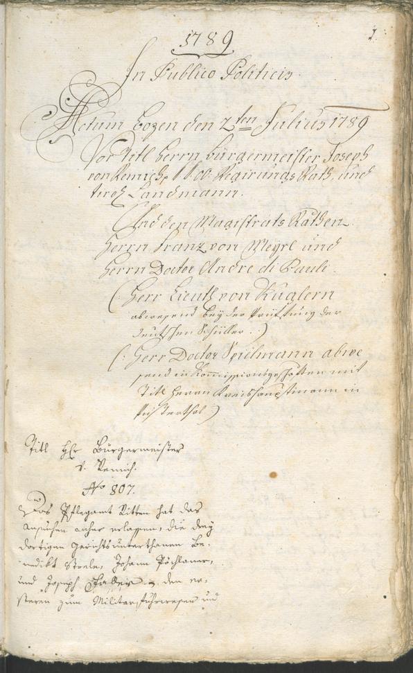 Stadtarchiv Bozen - BOhisto Ratsprotokoll 1789