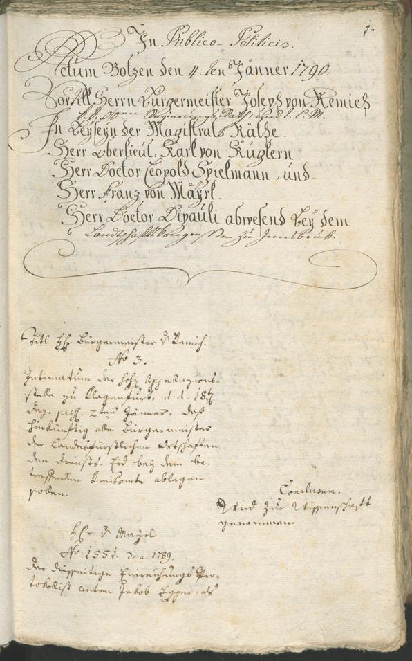 Stadtarchiv Bozen - BOhisto Ratsprotokoll 1790