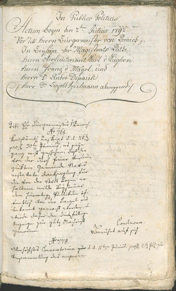 Stadtarchiv Bozen - BOhisto Ratsprotokoll 1792