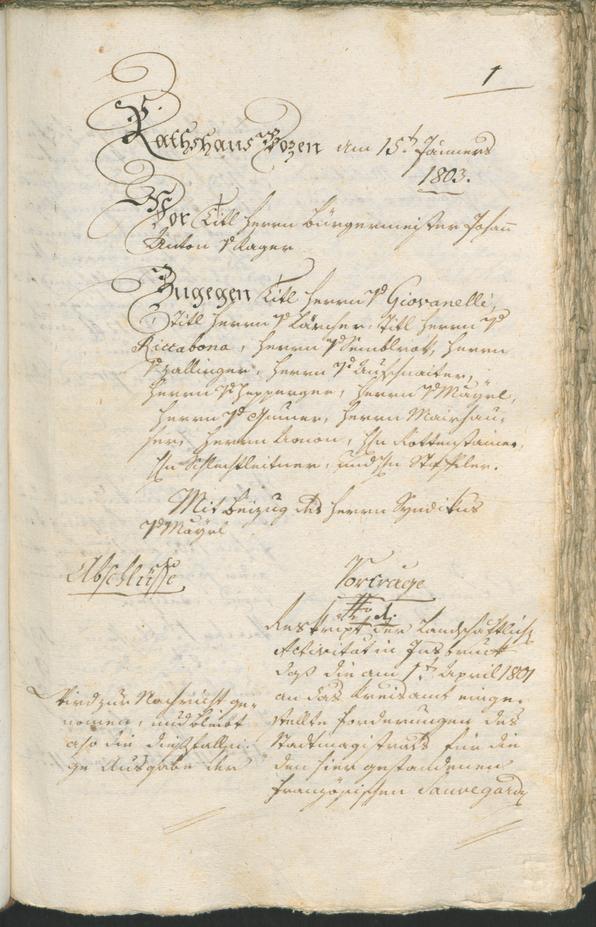 Civic Archives of Bozen-Bolzano - BOhisto Ratsprotokoll 1803
