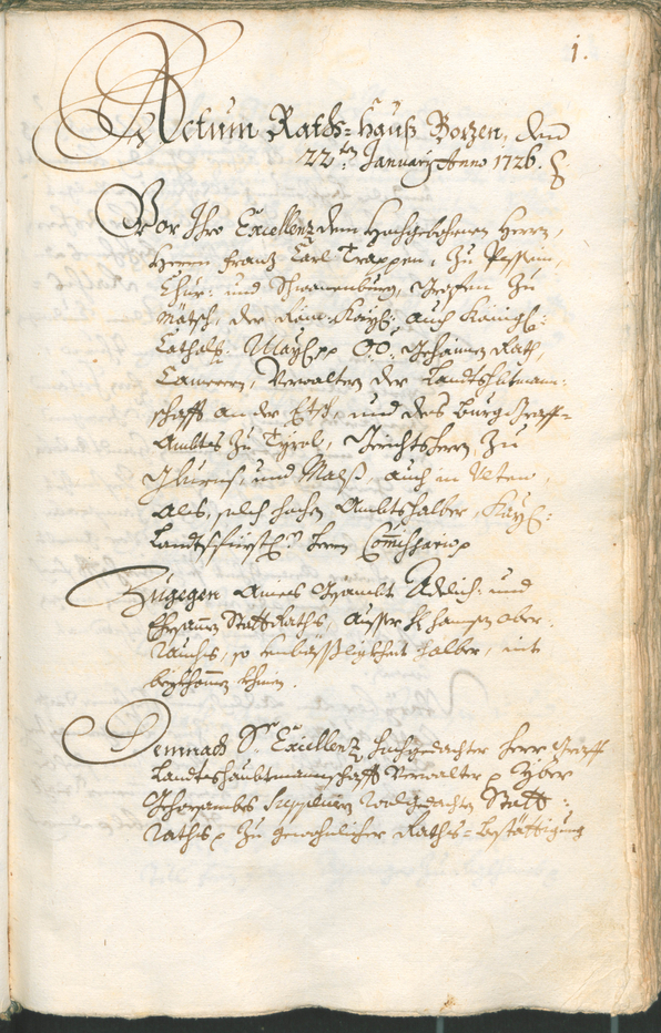 Civic Archives of Bozen-Bolzano - BOhisto Ratsprotokoll 1726/29