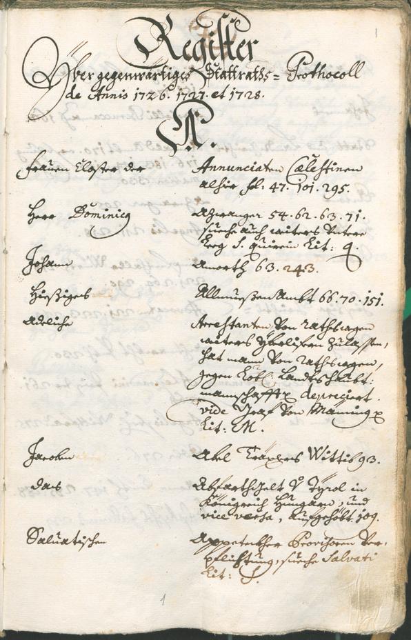 Stadtarchiv Bozen - BOhisto Ratsprotokoll 1726/29