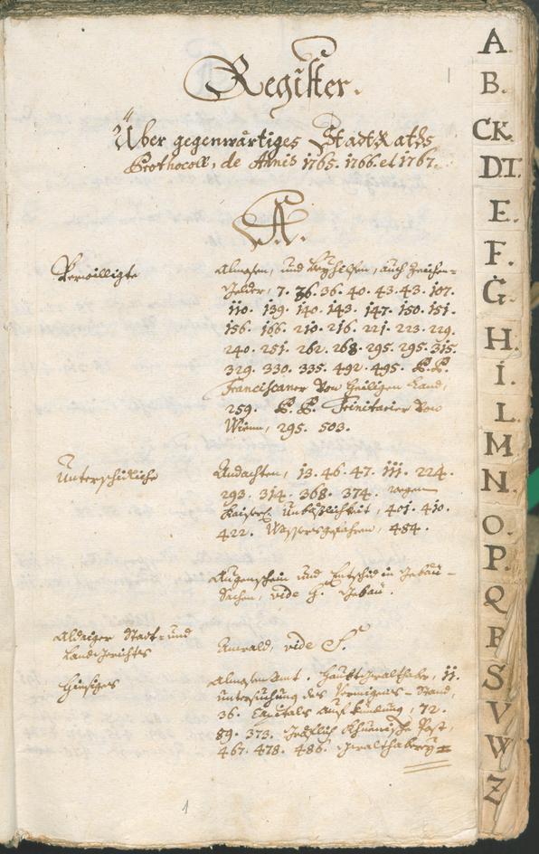 Civic Archives of Bozen-Bolzano - BOhisto Ratsprotokoll 1765/68